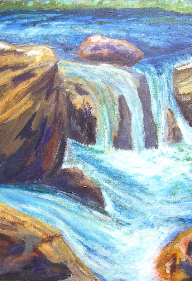 Waterfall Painting - Water And Rock by Caroline Owen-Doar