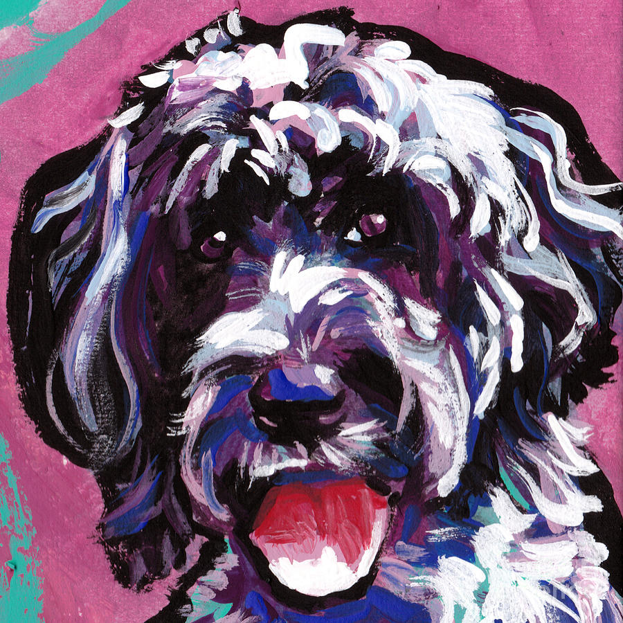 Portuguese Water Dog Painting - Water Baby by Lea S