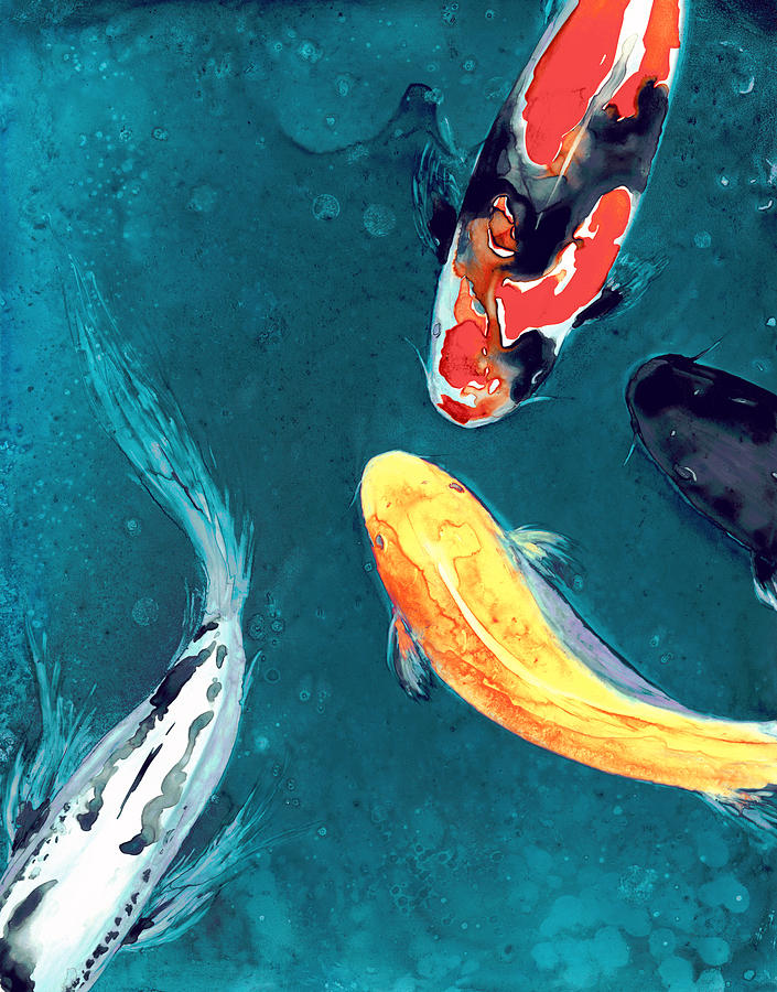 Koi Painting - Water Ballet by Brazen Design Studio