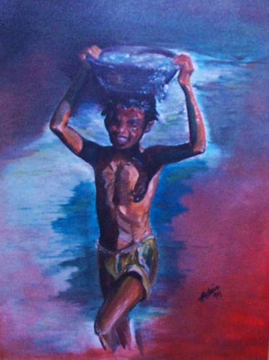 India Painting - Water Carrier by Adair Robinson