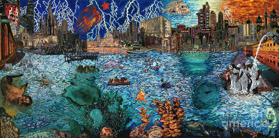 City Painting - Water City by Emily McLaughlin