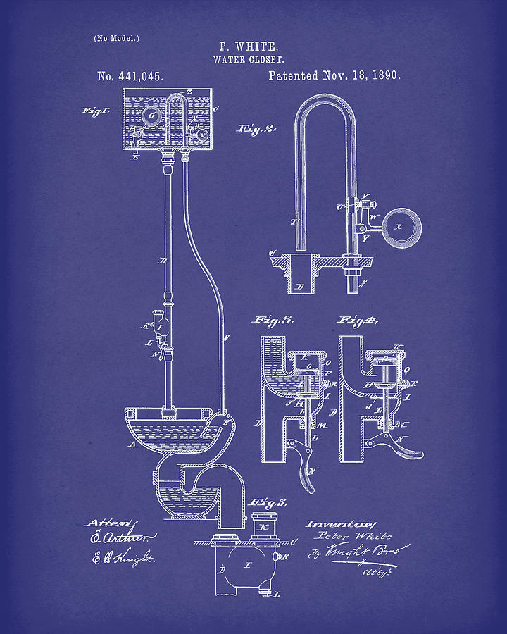 Water Closet Patent Art Blue by Prior Art Design