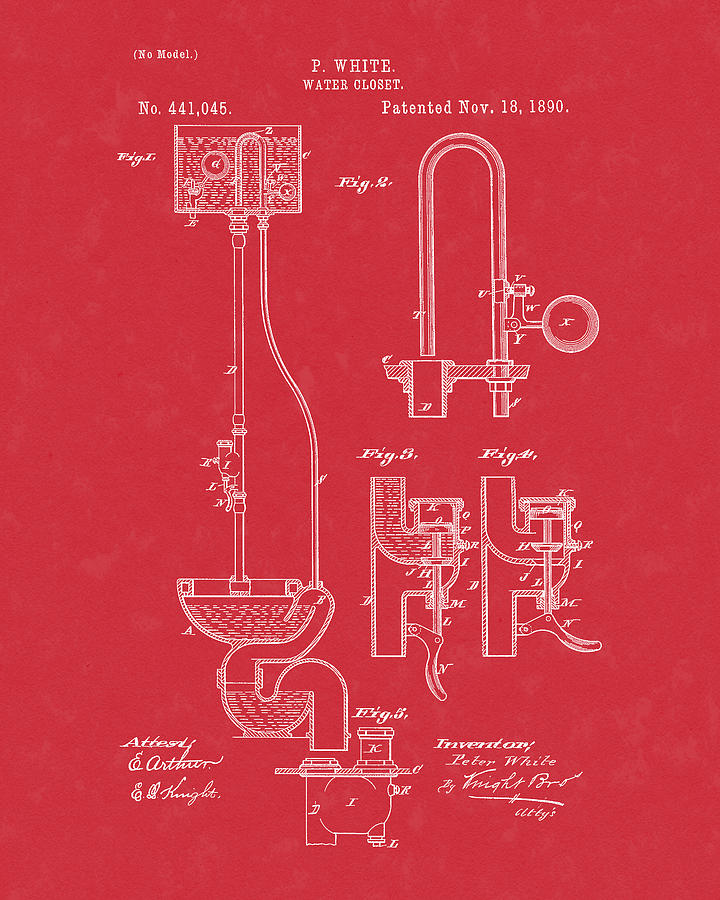 Water Closet Patent Art Red by Prior Art Design