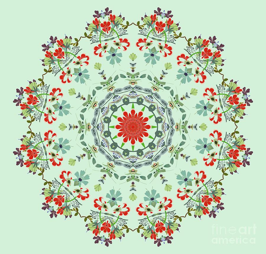Water Color Garden Kaleidoscope by Heinz G Mielke