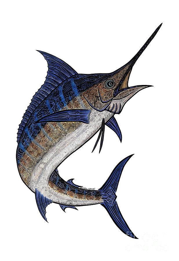 Marlin Mixed Media - Water Color Tribal Marlin IIi by Carol Lynne