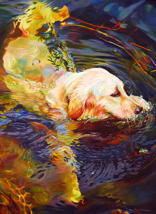 Golden Retriever Painting - Water Dance 2 by Kelly McNeil