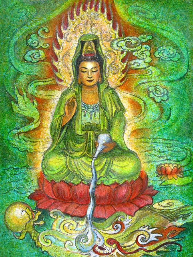 Water Dragon Kuan Yin Painting by Sue Halstenberg