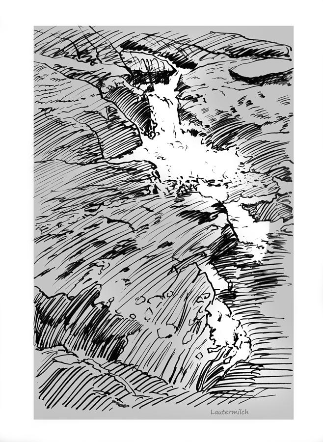 Water Fall Drawing - Water Fall Rocky Mountains by John Lautermilch