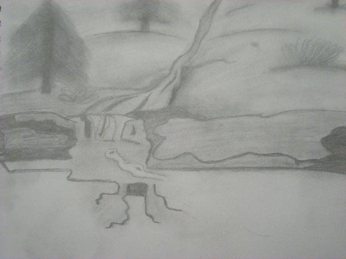 Waterfall Drawing - Water Falling by Samantha  Howe