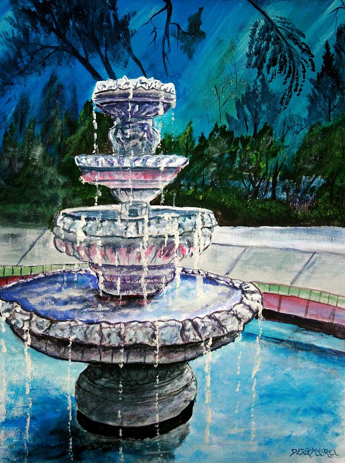 Acrylic Painting - Water Fountain Acrylic Painting Art Print by Derek Mccrea