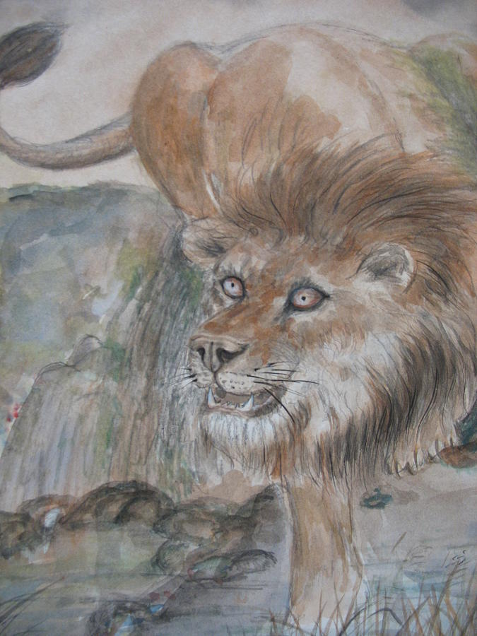 Lion Painting - Water Hole by Gerry Fong