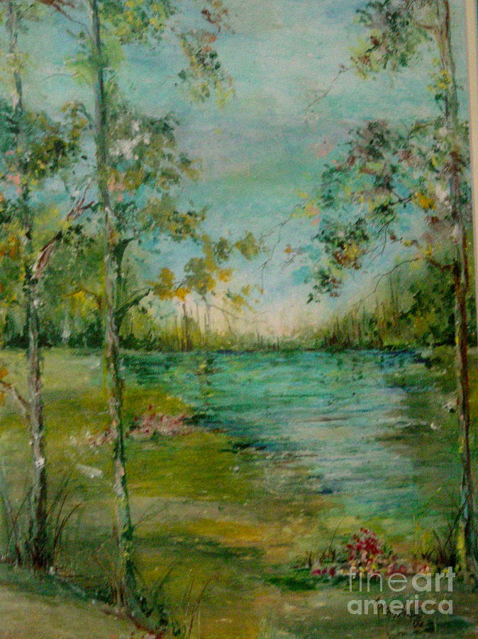 Trees Painting - Water In Springtime by Robin Miller-Bookhout