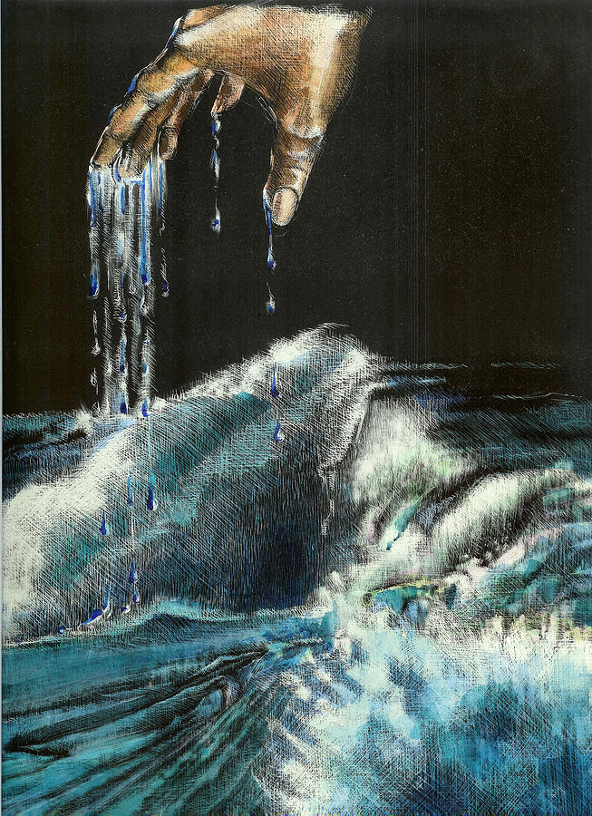 Ocean Mixed Media - Water by Kathleen Romana