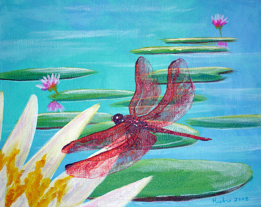 Water Painting - Water Lilies And Dragonfly by Susan Kubes
