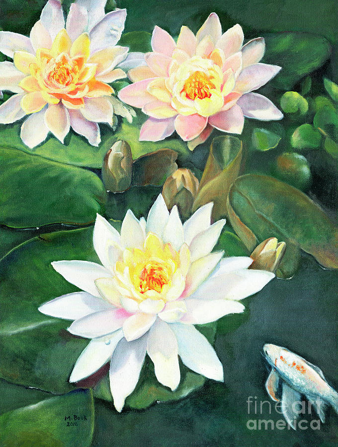 Water Lilies and Koi by Marlene Book