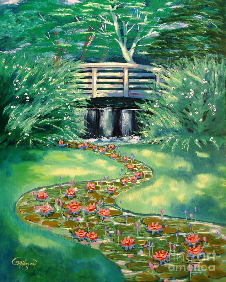 Pond Painting - Water Lilies Bridge by Milagros Palmieri