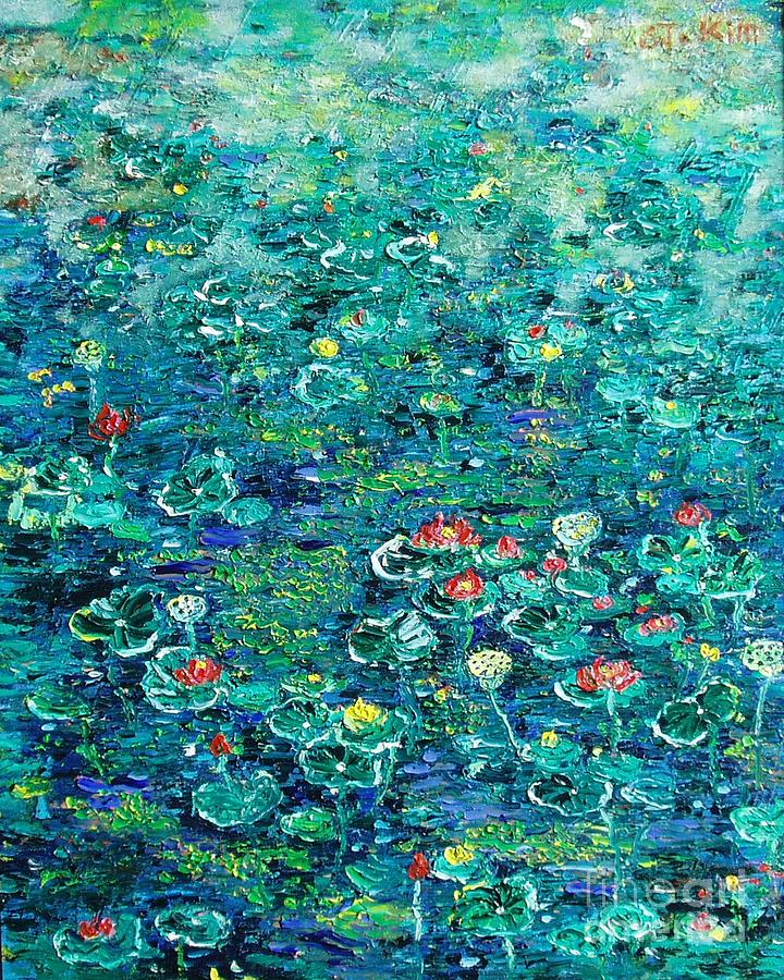 Acrylic Paintings Painting - Water Lilies Lily Pad Lotus Water Lily Paintings by Seon-Jeong Kim