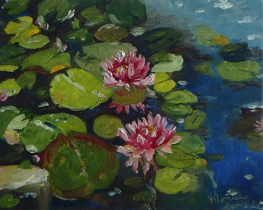 Oil On Canvas Painting - Water Lilies by Monica Ironside