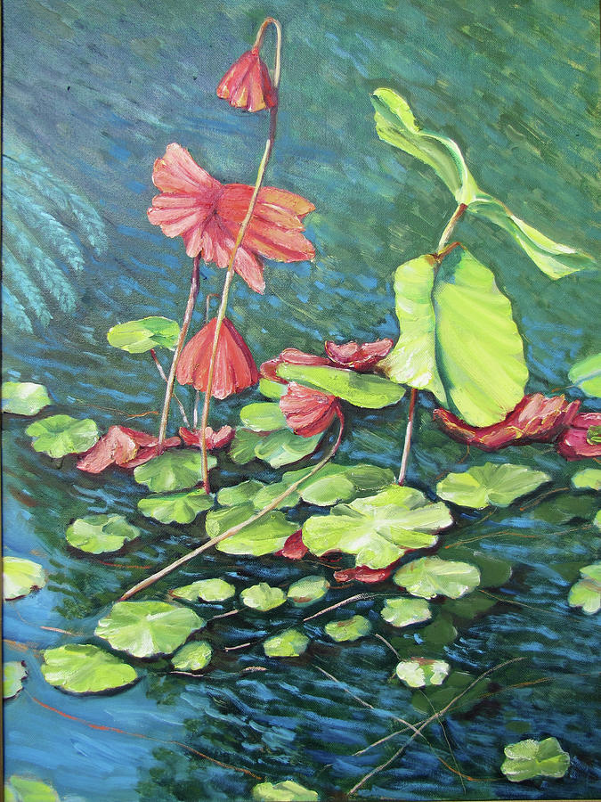 Water Lillies Painting - Water Lillies 1 by Thomas Michael Meddaugh