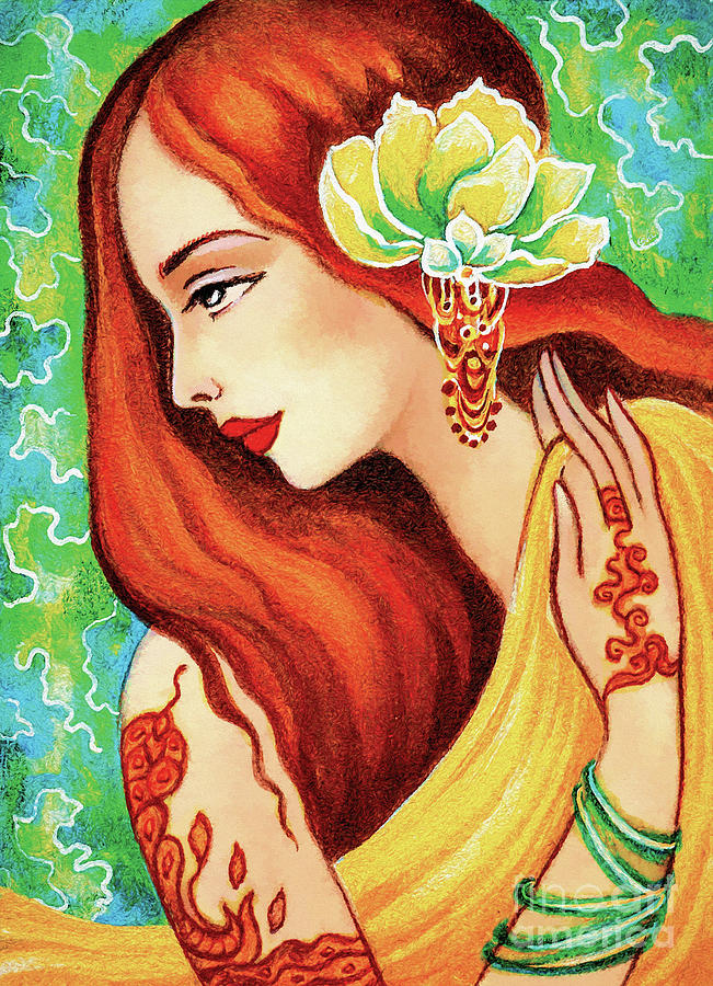 Indian Woman Painting - Water Lily by Eva Campbell