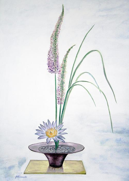 Water Lily Ikebana  Painting by Jennifer Shinomoto
