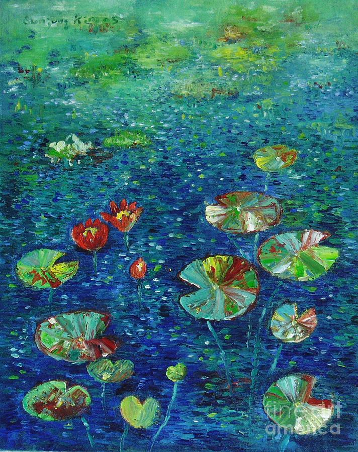 Abstract Art Paintings Painting - Water Lily Lotus Lily Pads Paintings by Seon-Jeong Kim