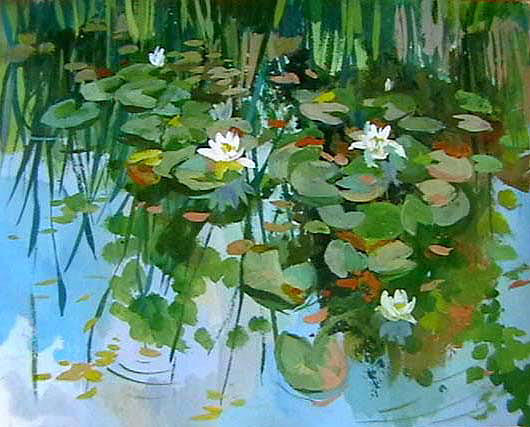 Water Lilyes Painting by Hrachuhi Grigoryan