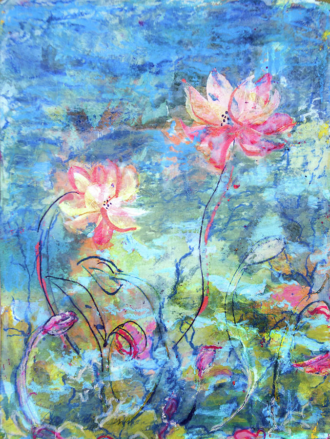 Water Lotus Painting by Judith Ghetti Ommen