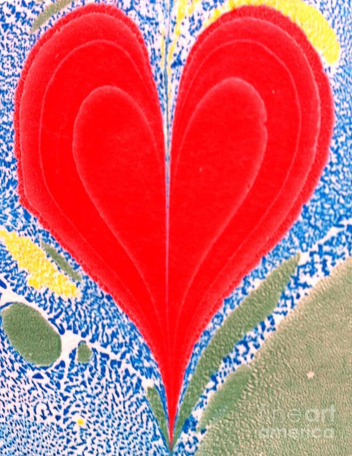 Heart Painting - Water Marbling Art, Ebru by Dilan C