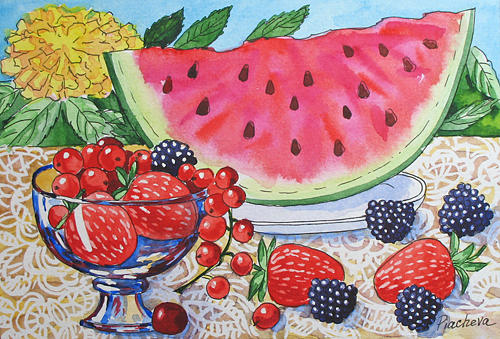 Floral Painting - Water-melon and Berries Still Life. by Natalia Piacheva