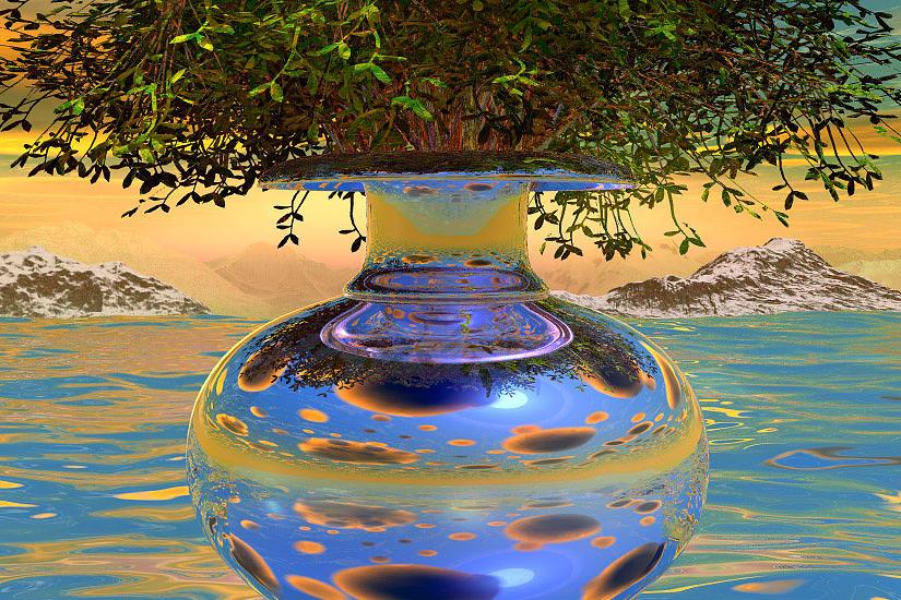Still-life Digital Art - Water-mirror-urn Randm Yello Sky Glo by Terry Anderson