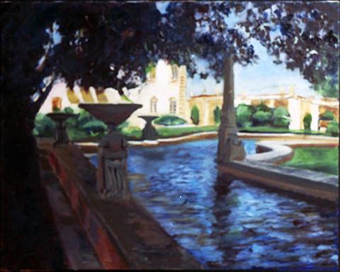 Landscape Painting - Water Pond At Viizcaya Gardens by Carlos Sanjurjo