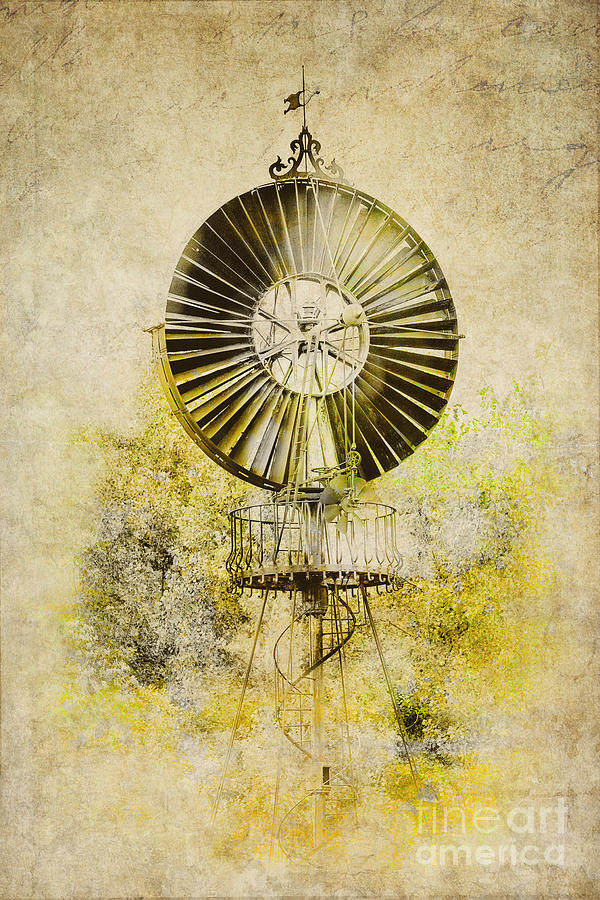 Water-pumping Windmill Photograph