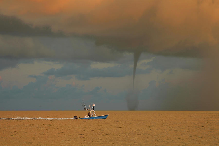 Anna Maria Island Photograph - Waterspout at Sunrise in the Gulf by Kevin Rimlinger