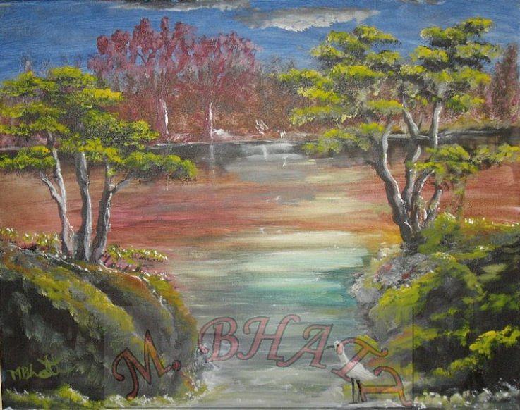 Water Painting - Water Stream by M Bhatt