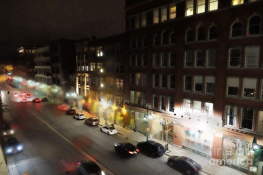 Water Street Digital Art - Water Street Looking South From The Marshall Building by David Blank