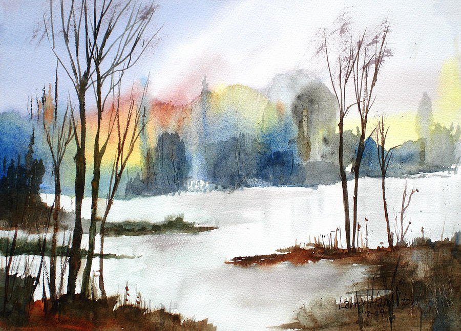Watercolor Painting - Water Sunset Study by Larry Hamilton