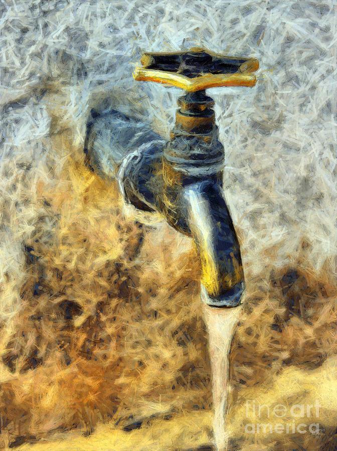 Tap Painting - Water Tap by Grigorios Moraitis