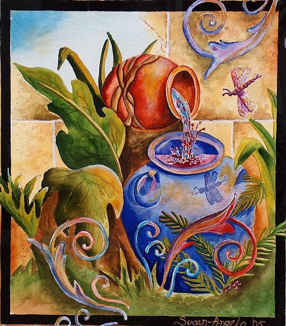 Wine Painting - Water To Wine by Susan-Angelo  DeBay