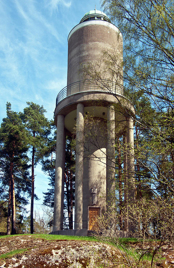 Water Photograph - Water Tower In Malmi Cemetery by Jarmo Honkanen