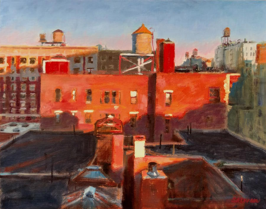 New York Painting - Water Towers At Sunset No. 3 by Peter Salwen