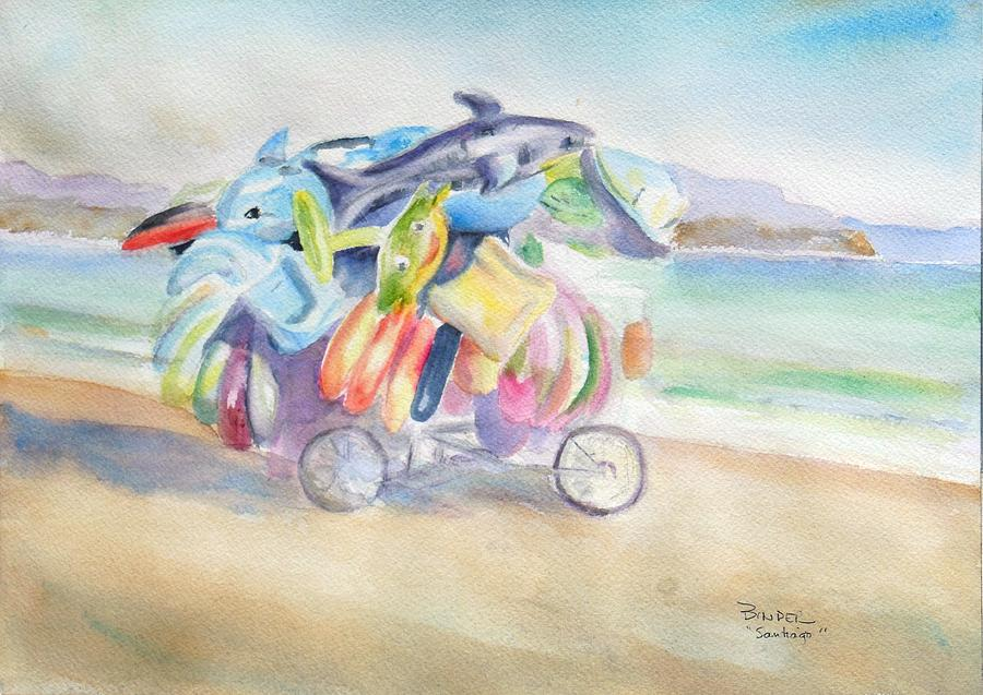 Water Toy Painting - Water Toy Vendor on teh beaches of Santiago Bay, Manzanillo by Diane Binder