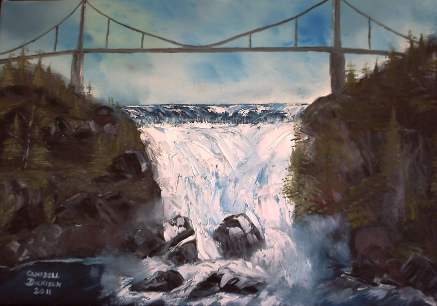 Waterfalls Painting - Water Under The Bridge by Campbell Dickison