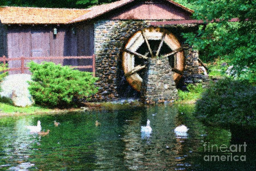 Water wheel duck pond painting by smilin eyes treasures for Duck pond water