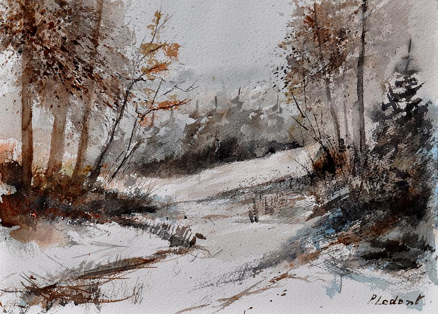 Landscape Painting - Watercolor 017051 by Pol Ledent