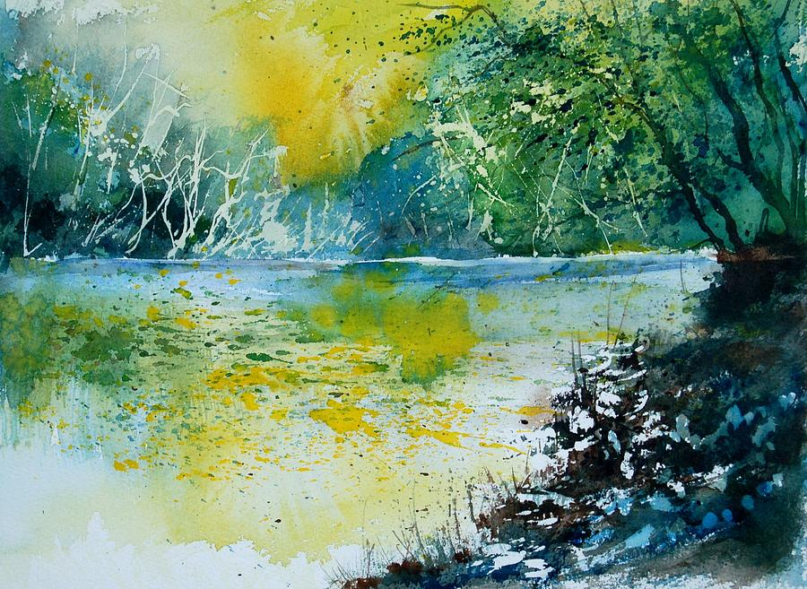 Pond Painting - Watercolor 051108 by Pol Ledent