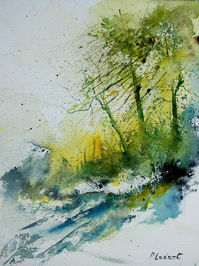 River Painting - Watercolor 181207 by Pol Ledent