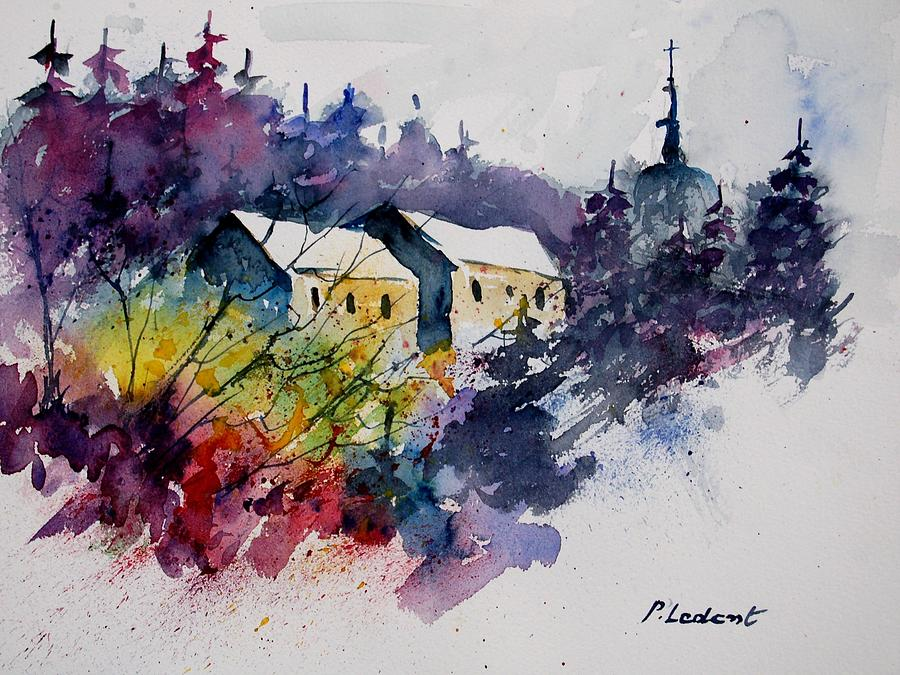 River Painting - Watercolor 231207 by Pol Ledent