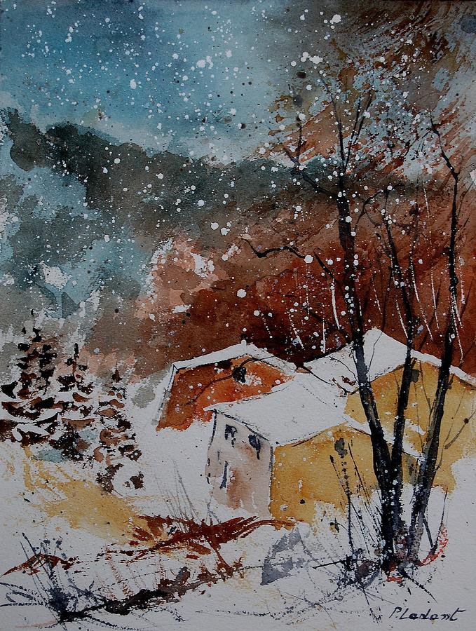 Winter Painting - Watercolor  902113 by Pol Ledent