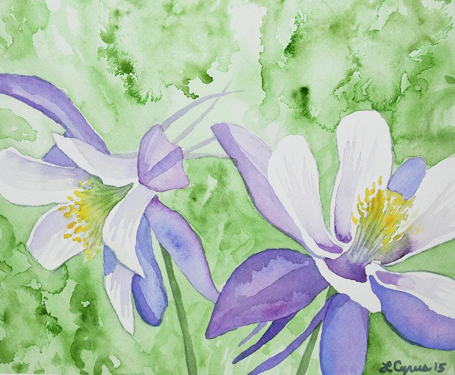 Watercolor - Blue Columbine Flowers Painting